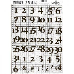 Sticker dinA4 numeros con fondo de cuadrados y rayas
