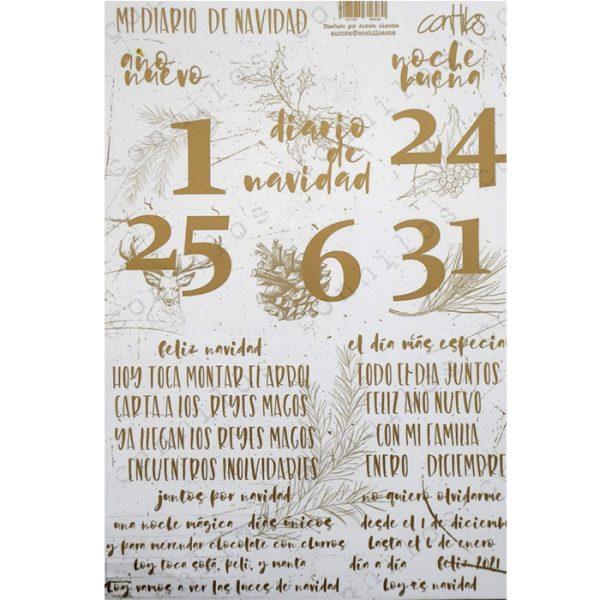 Sticker DinA4 numeros y textos en dorado